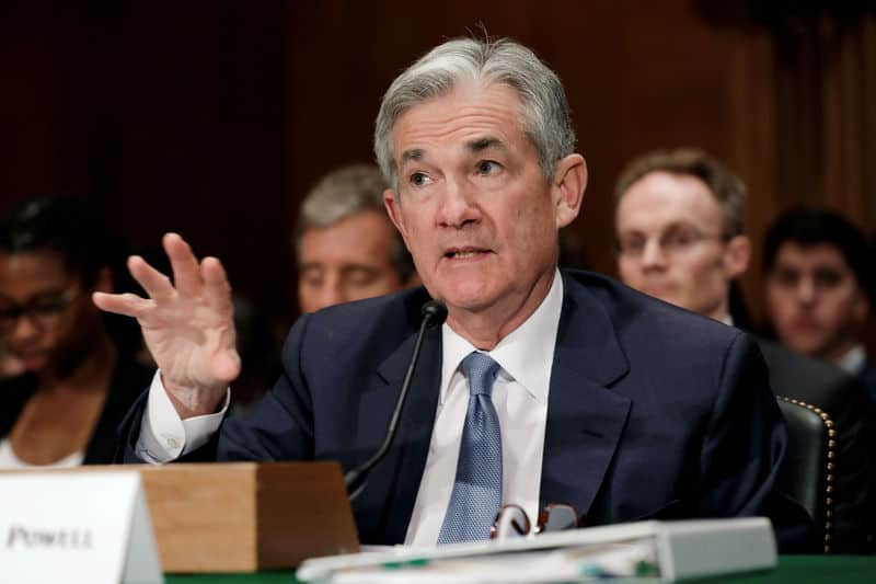 FILE PHOTO:    Federal Reserve Board Chairman Jerome Powell testifies before a Senate Banking Housing and Urban Affairs Committee hearing